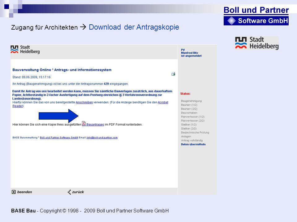 Zugang für Architekten  Download der Antragskopie