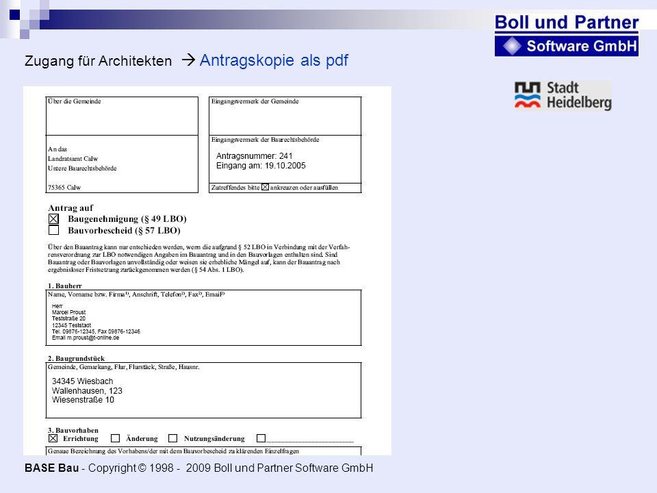 Zugang für Architekten  Antragskopie als pdf