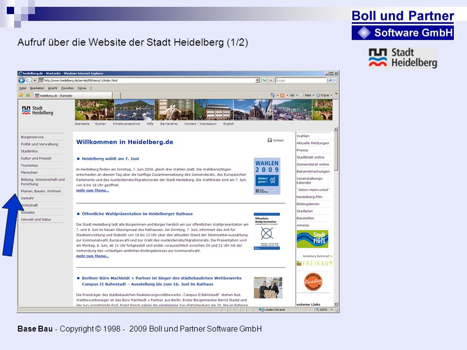 Aufruf über die Website der Stadt Heidelberg (1/2)