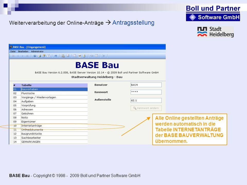 Weiterverarbeitung der Online-Anträge  Antragsstellung