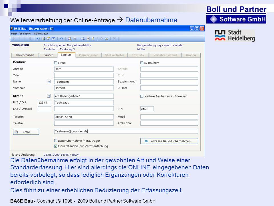 Weiterverarbeitung der Online-Anträge  Datenübernahme