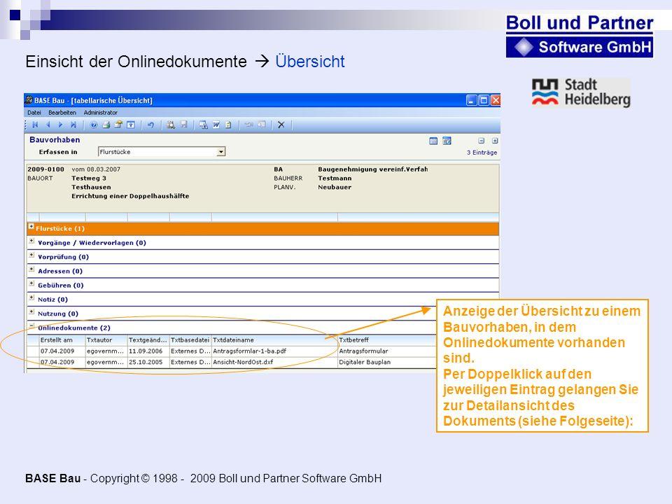 Einsicht der Onlinedokumente  Übersicht