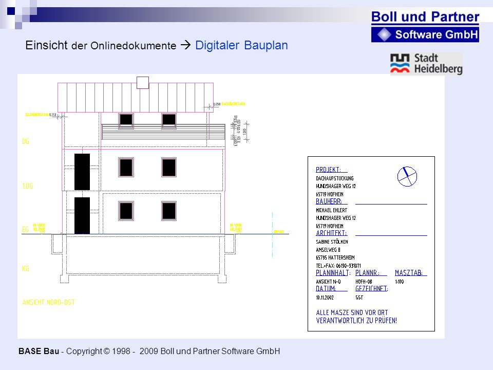 Einsicht der Onlinedokumente  Digitaler Bauplan