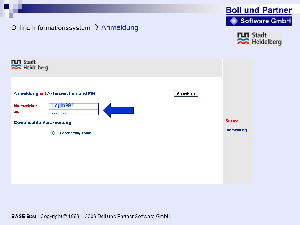 Online Informationssystem  Anmeldung
