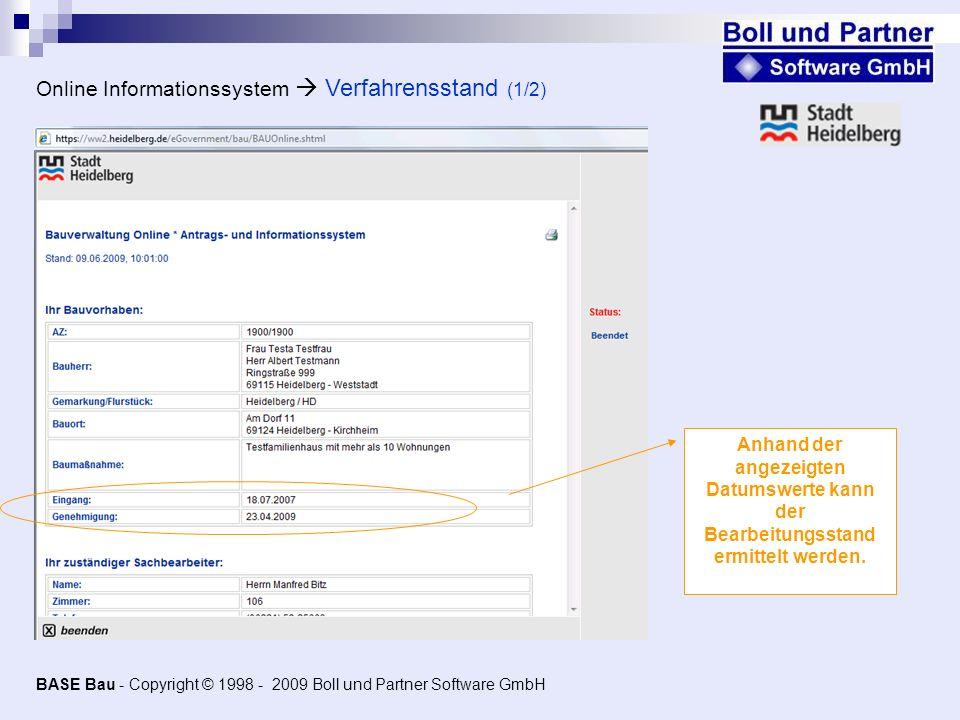 Online Informationssystem  Verfahrensstand (1/2)
