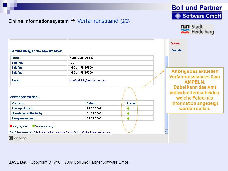 Online Informationssystem  Verfahrensstand (2/2)