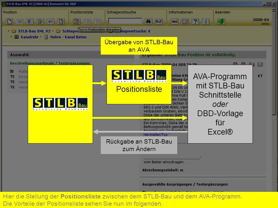 AVA-Programm mit STLB-Bau Positionsliste Schnittstelle oder