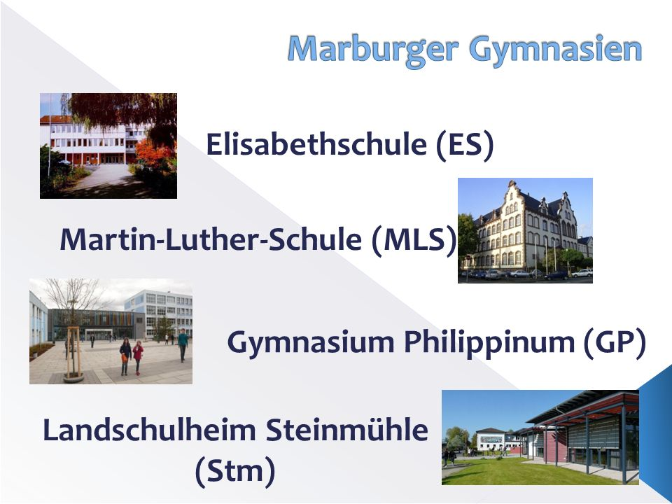 Marburger Gymnasien Elisabethschule (ES) Martin-Luther-Schule (MLS)