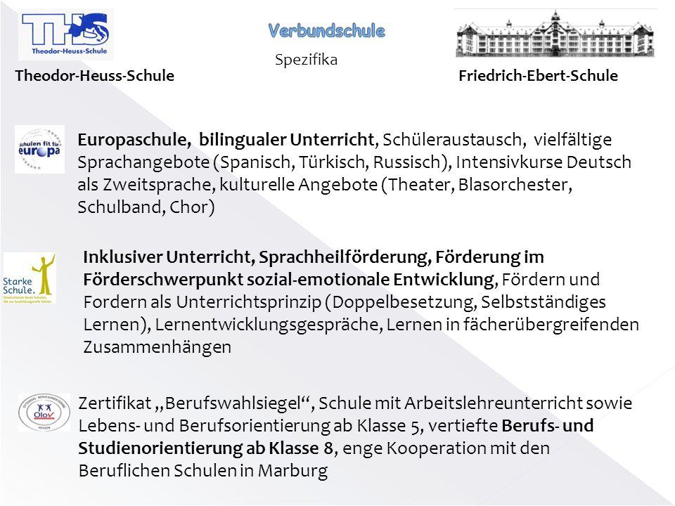 Verbundschule Spezifika. Theodor-Heuss-Schule. Friedrich-Ebert-Schule.