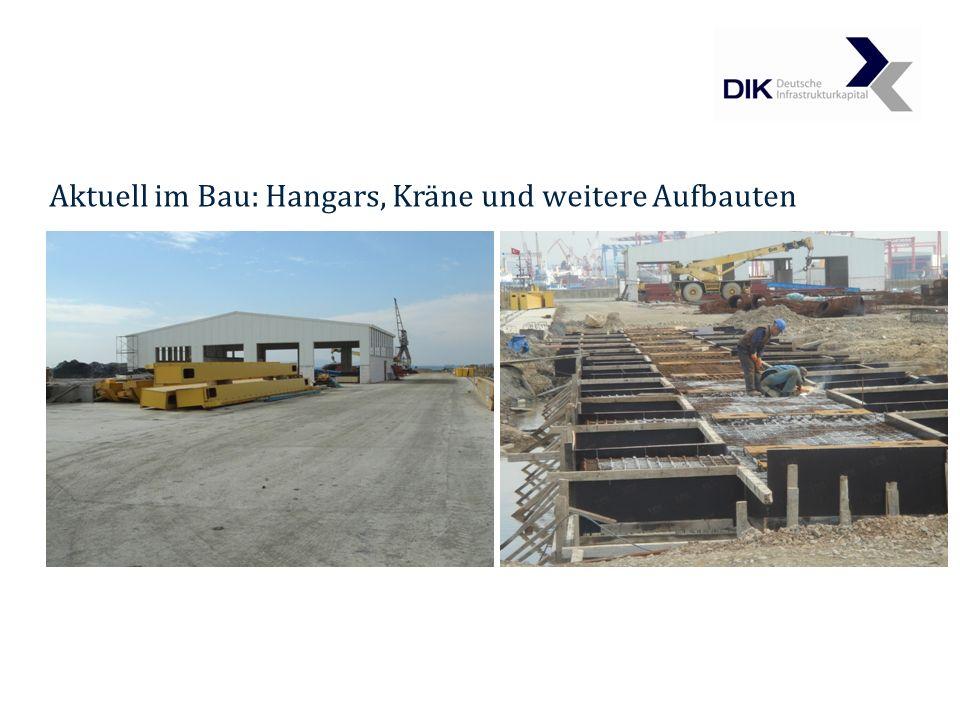 Aktuell im Bau: Hangars, Kräne und weitere Aufbauten