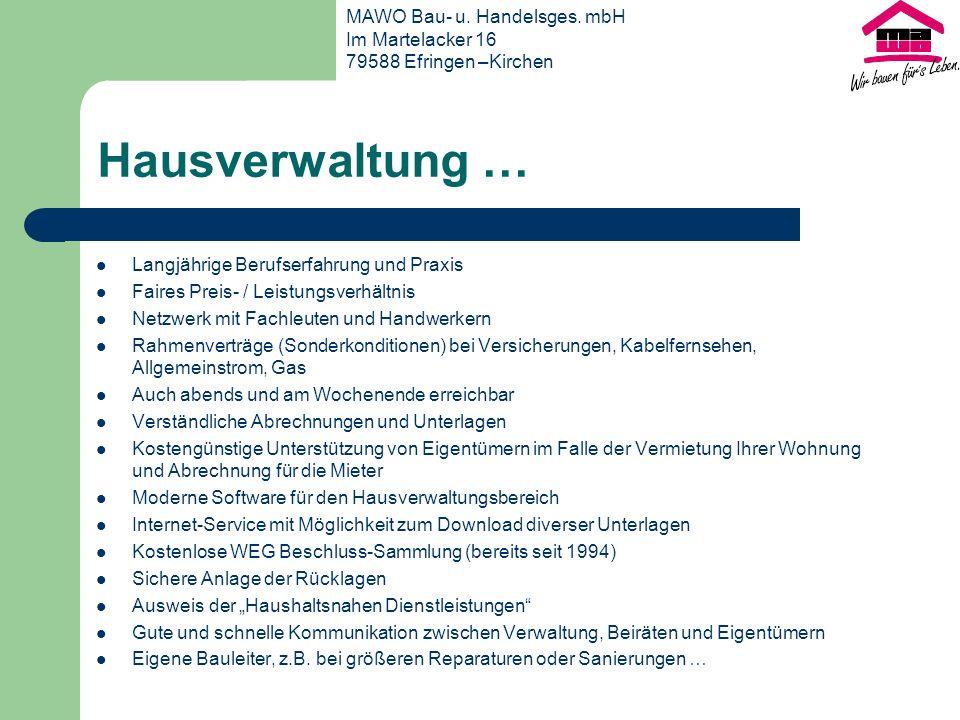 MAWO Bau- u. Handelsges. mbH Im Martelacker 16 79588 Efringen –Kirchen