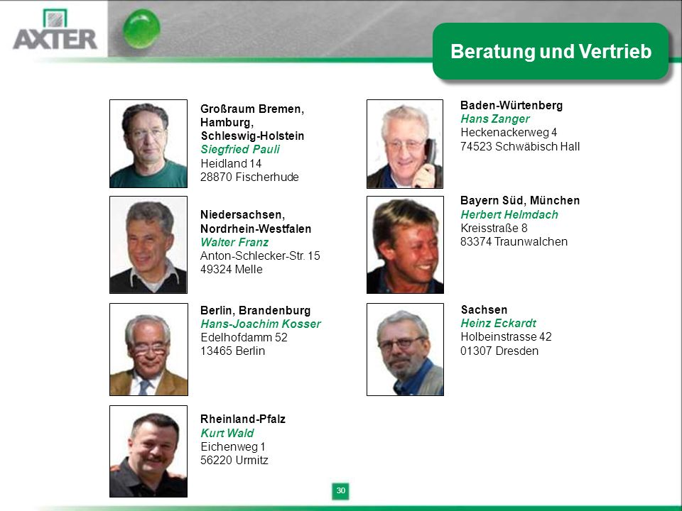 Beratung und Vertrieb Baden-Würtenberg Hans Zanger Großraum Bremen,