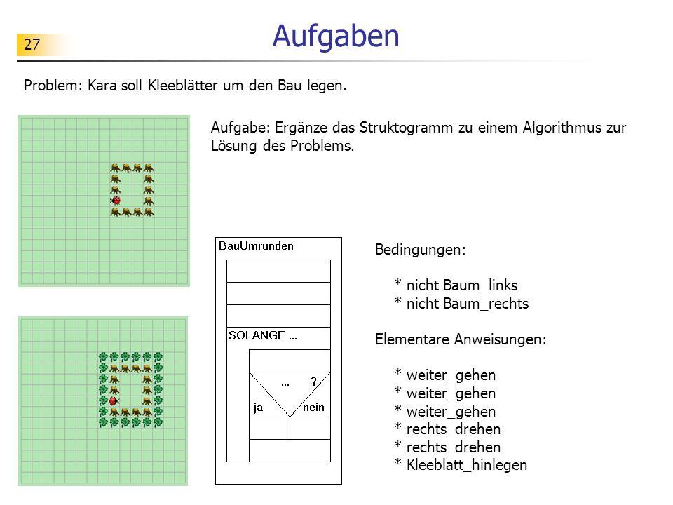 Aufgaben Problem: Kara soll Kleeblätter um den Bau legen.
