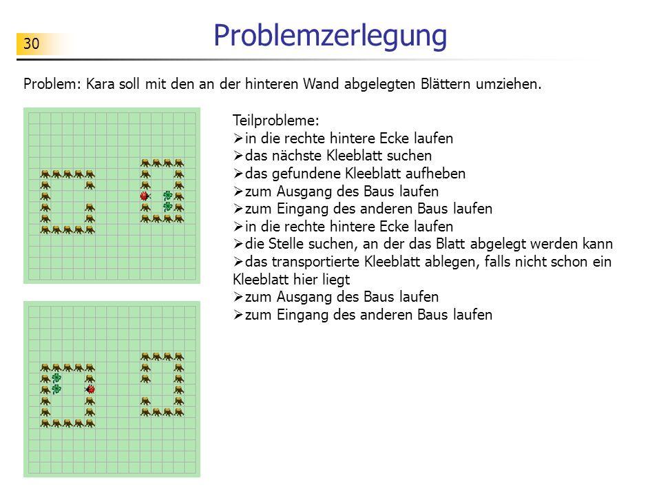 Problemzerlegung Problem: Kara soll mit den an der hinteren Wand abgelegten Blättern umziehen. Teilprobleme: