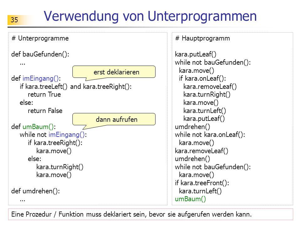 Verwendung von Unterprogrammen
