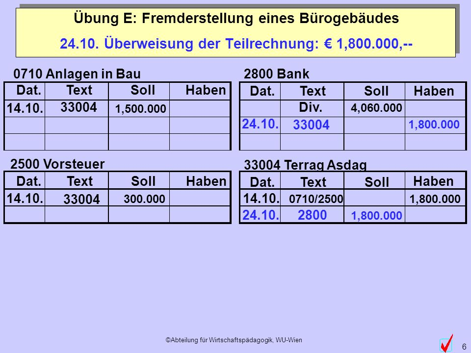 24.10. Überweisung der Teilrechnung: € 1,800.000,--