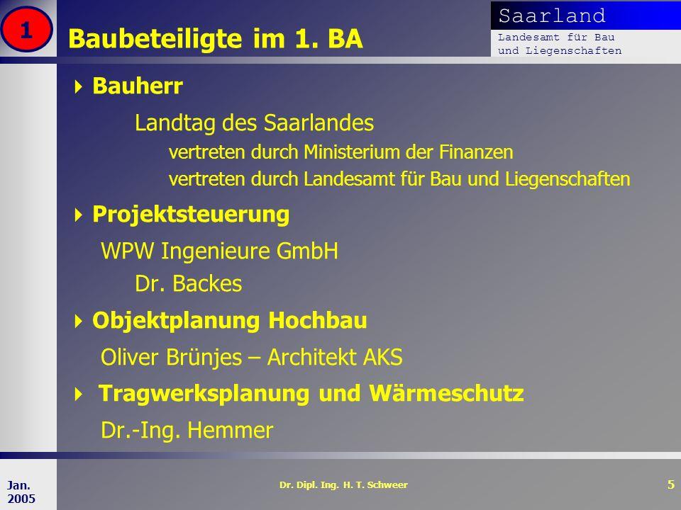 Baubeteiligte im 1. BA 1 Bauherr Landtag des Saarlandes