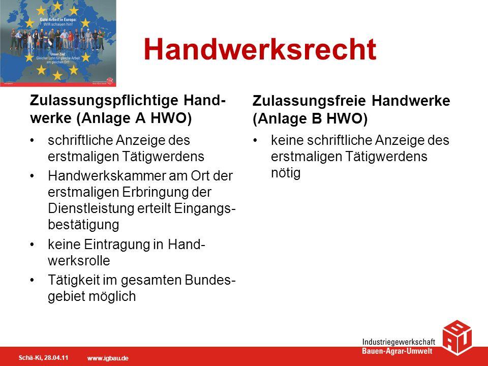 Handwerksrecht Zulassungspflichtige Hand-werke (Anlage A HWO)