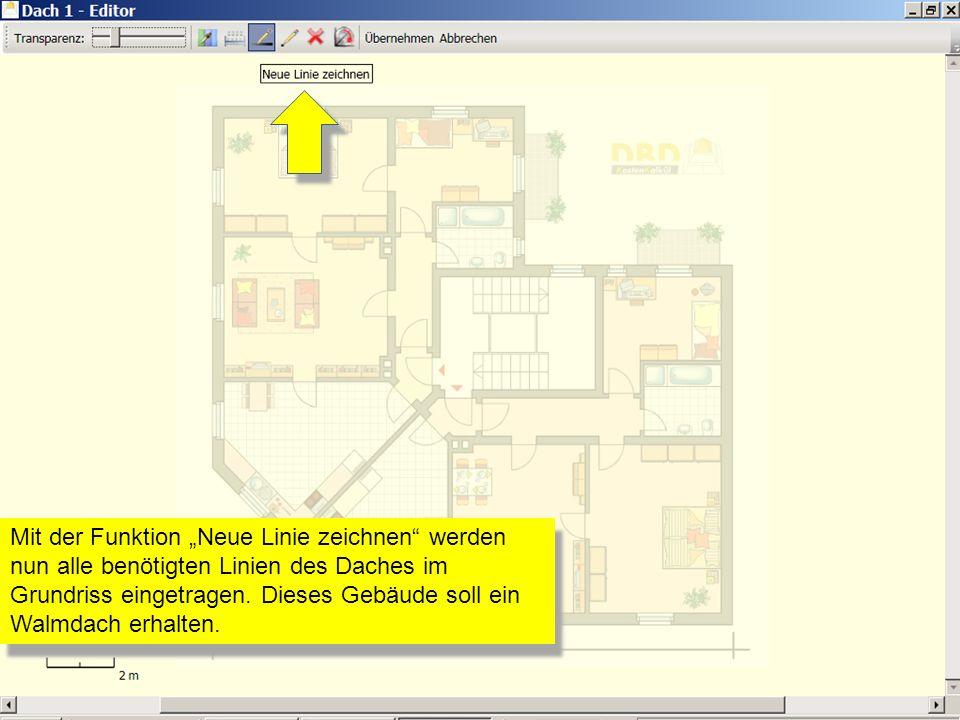 """Mit der Funktion """"Neue Linie zeichnen werden nun alle benötigten Linien des Daches im Grundriss eingetragen."""
