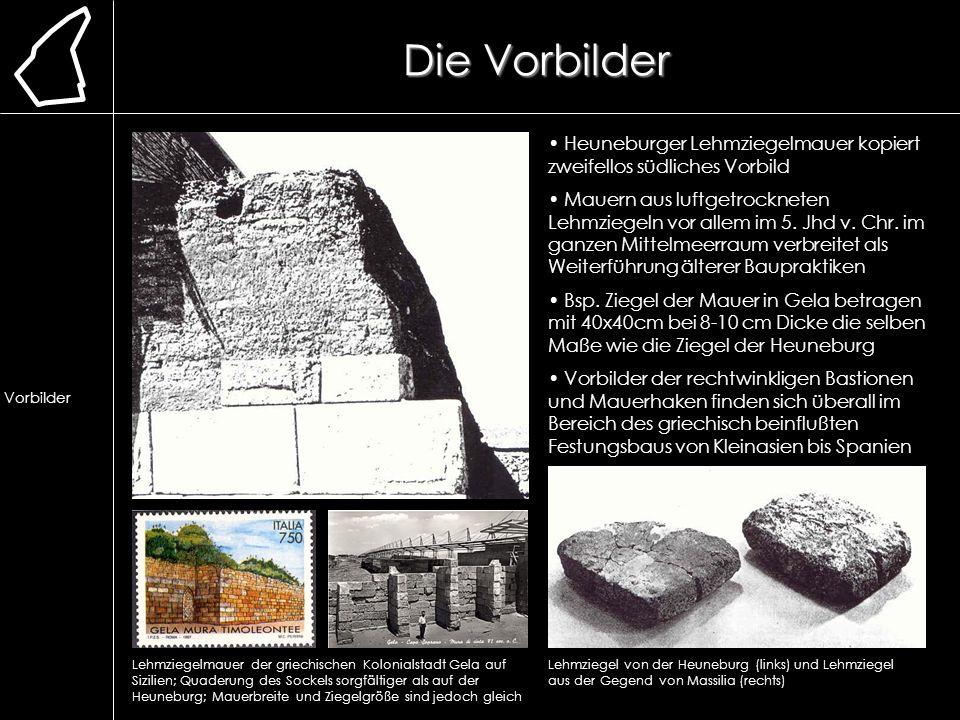 Die Vorbilder Lage. Erforschung. Ausgrabung. Chronologie. frühere Bauweise. Lehmmauer. Herstellung.