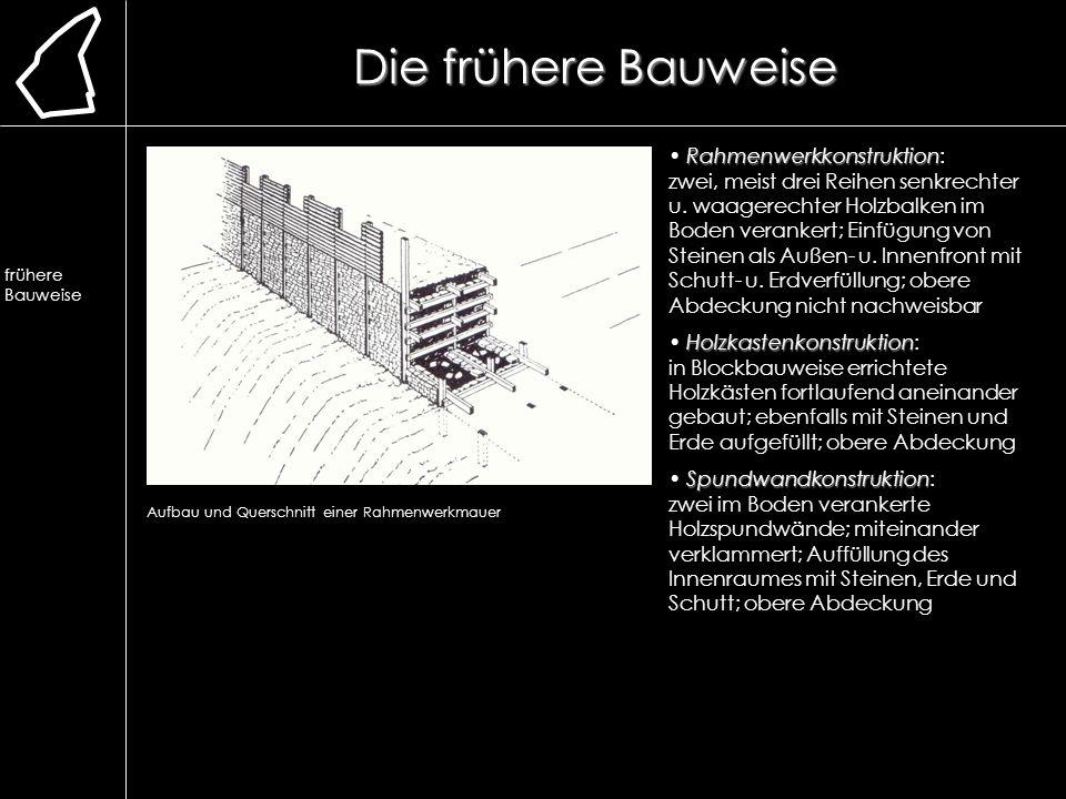 Die frühere Bauweise Lage. Erforschung. Ausgrabung. Chronologie. frühere Bauweise. Lehmmauer. Herstellung.