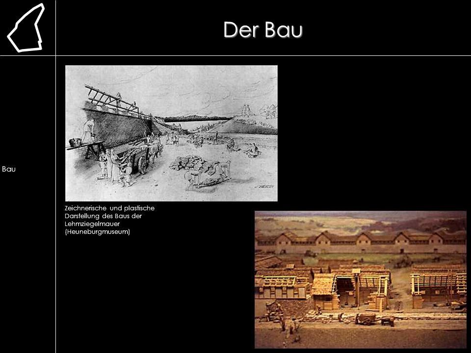 Der Bau Lage. Erforschung. Ausgrabung. Chronologie. frühere Bauweise. Lehmmauer. Herstellung.