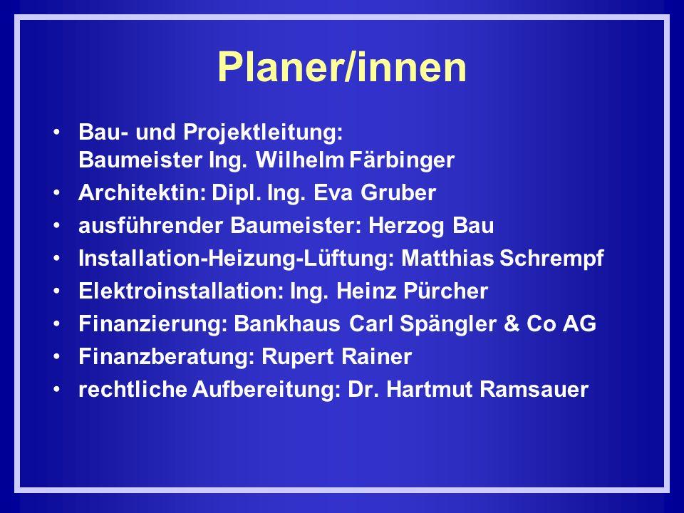 Planer/innen Bau- und Projektleitung: Baumeister Ing. Wilhelm Färbinger. Architektin: Dipl. Ing. Eva Gruber.