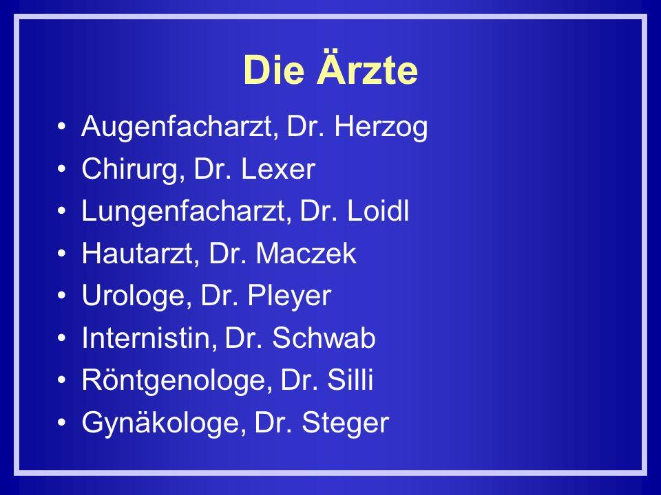 Die Ärzte Augenfacharzt, Dr. Herzog Chirurg, Dr. Lexer