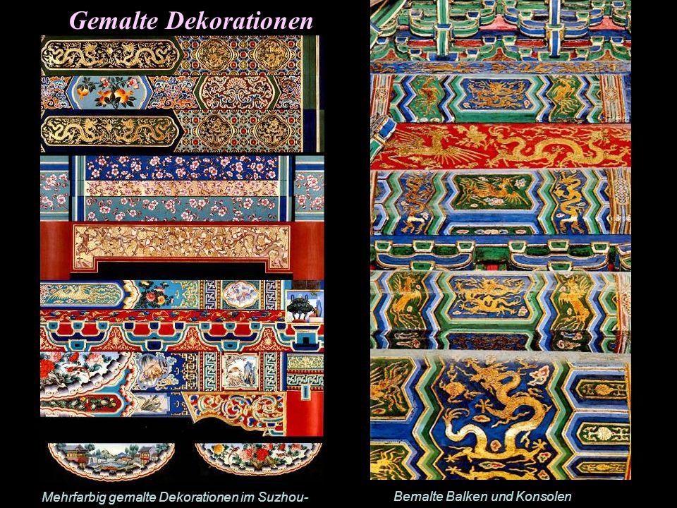 Gemalte Dekorationen Mehrfarbig gemalte Dekorationen im Suzhou-Stil