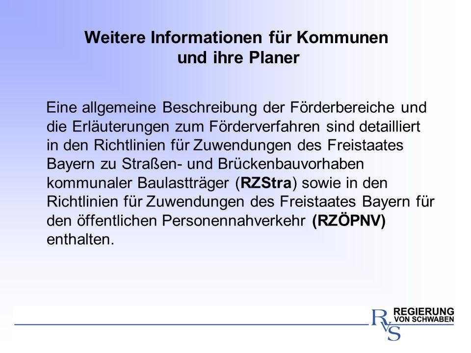 Weitere Informationen für Kommunen und ihre Planer