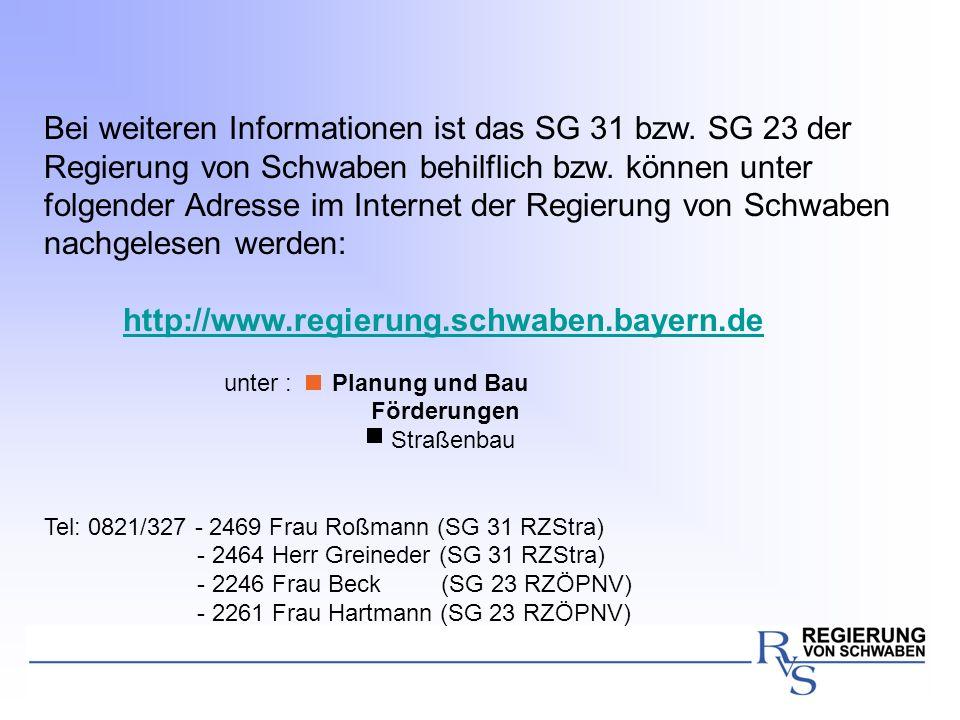 Bei weiteren Informationen ist das SG 31 bzw