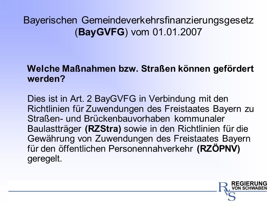 Bayerischen Gemeindeverkehrsfinanzierungsgesetz (BayGVFG) vom 01. 01