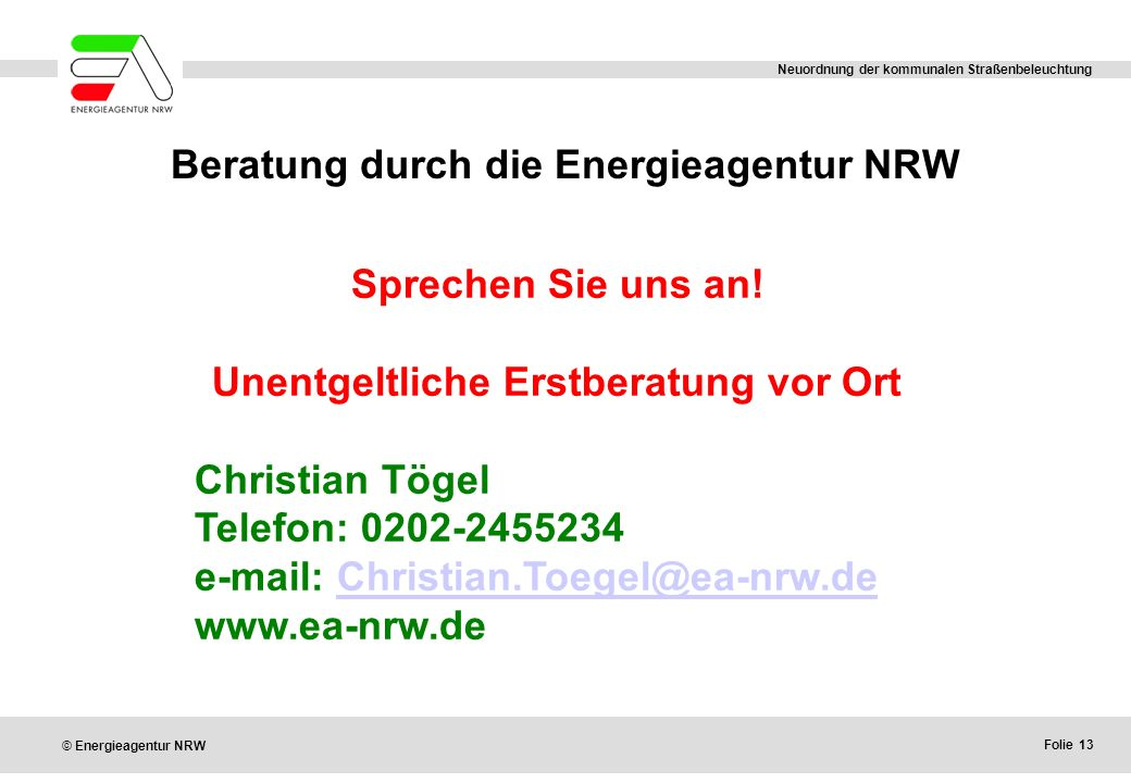 Beratung durch die Energieagentur NRW