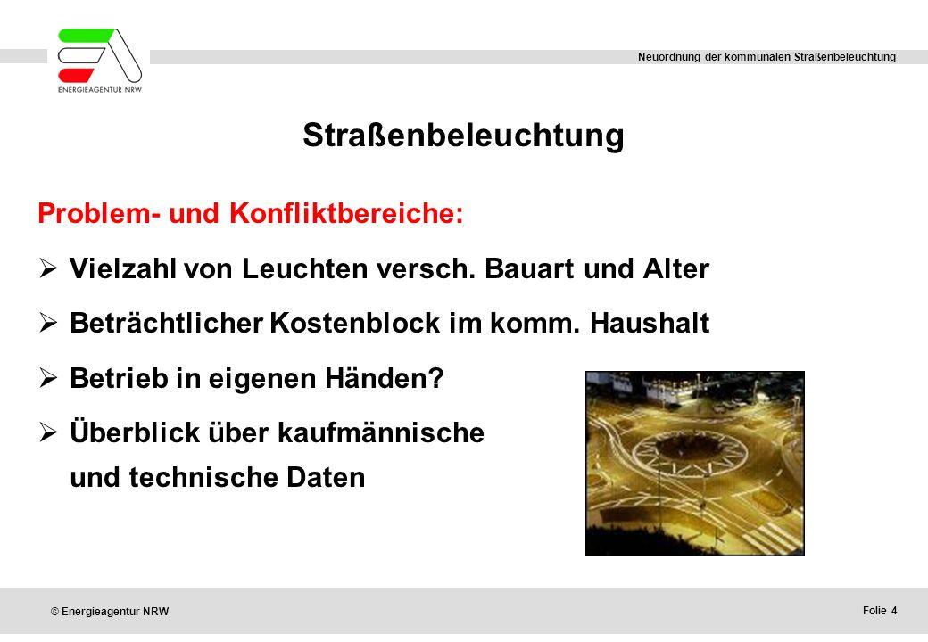 Straßenbeleuchtung Problem- und Konfliktbereiche: