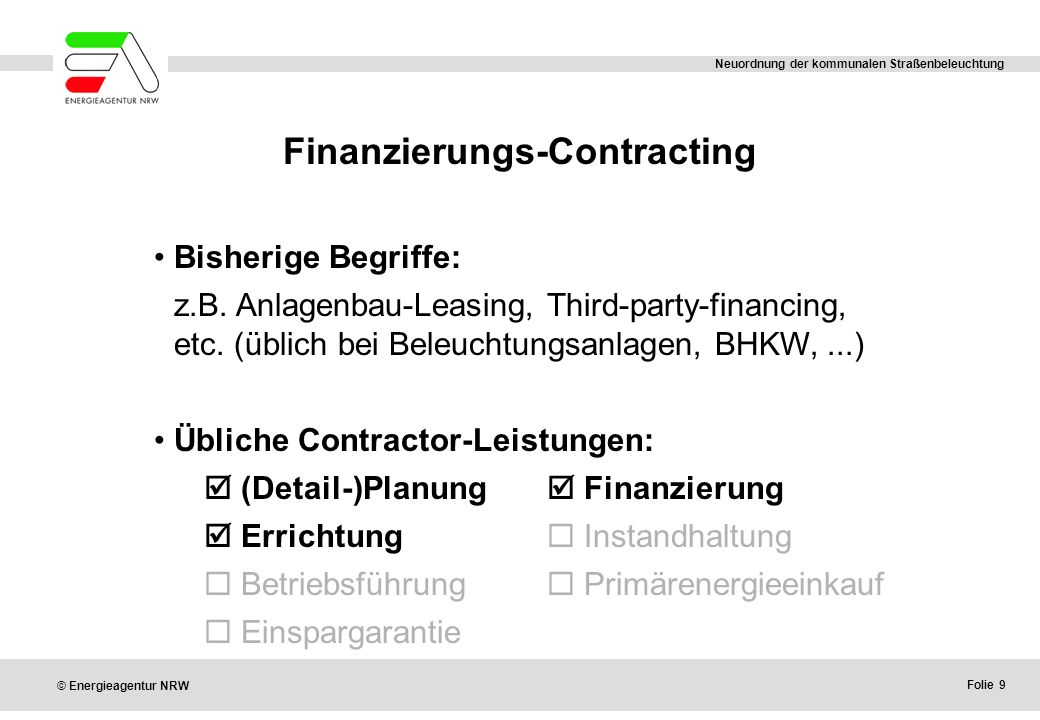 Finanzierungs-Contracting