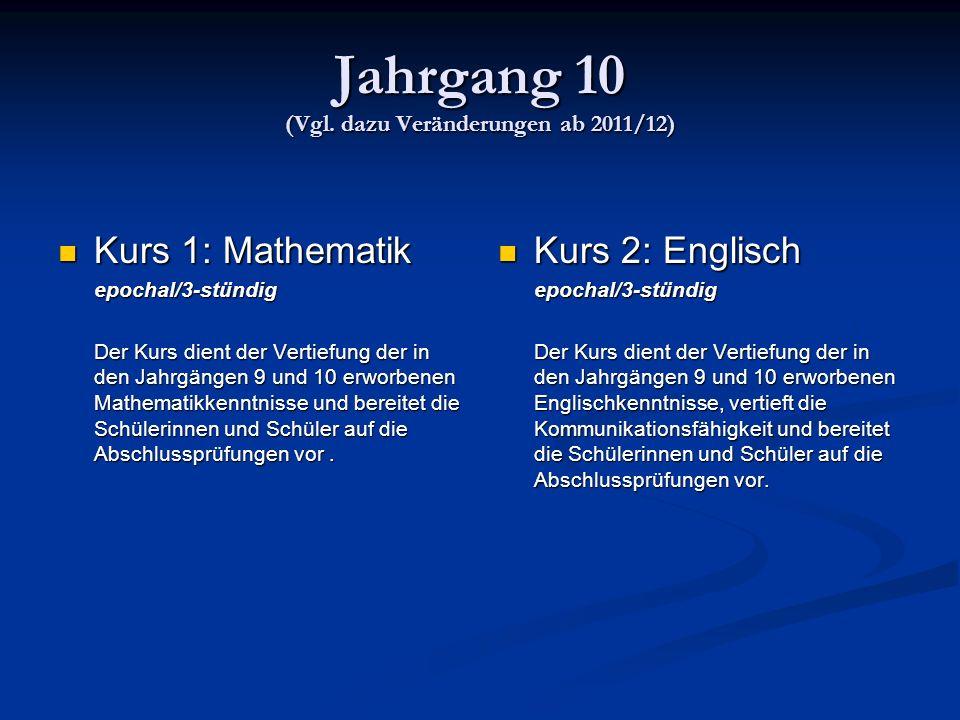 Jahrgang 10 (Vgl. dazu Veränderungen ab 2011/12)