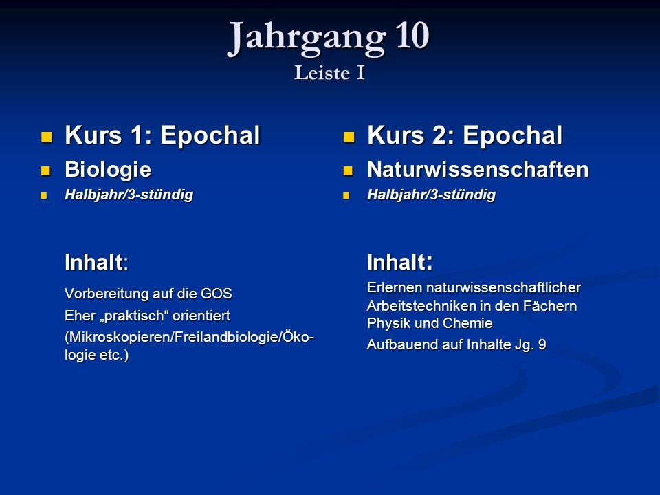 Jahrgang 10 Leiste I Kurs 1: Epochal Inhalt: Kurs 2: Epochal Biologie