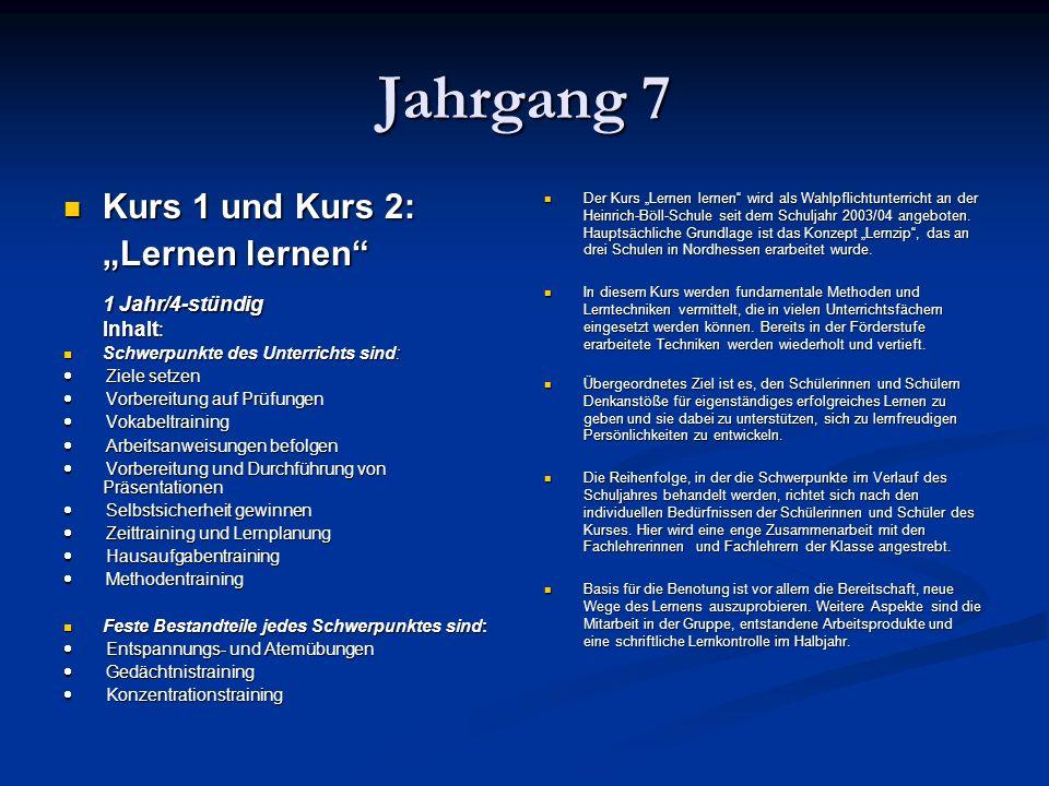"""Jahrgang 7 Kurs 1 und Kurs 2: """"Lernen lernen 1 Jahr/4-stündig Inhalt:"""