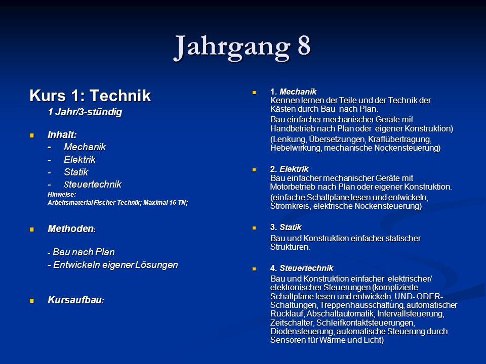 Jahrgang 8 Kurs 1: Technik 1 Jahr/3-stündig Inhalt: - Mechanik