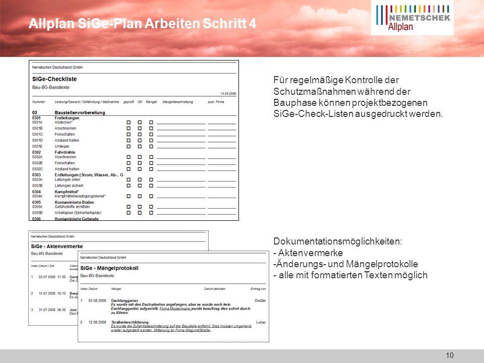 Allplan SiGe-Plan Arbeiten Schritt 4