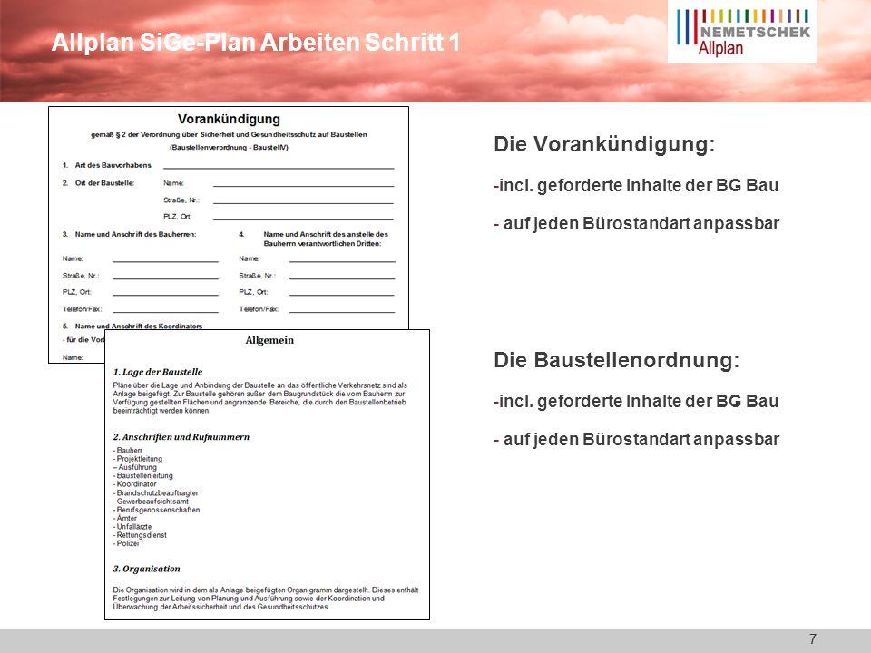Allplan SiGe-Plan Arbeiten Schritt 1