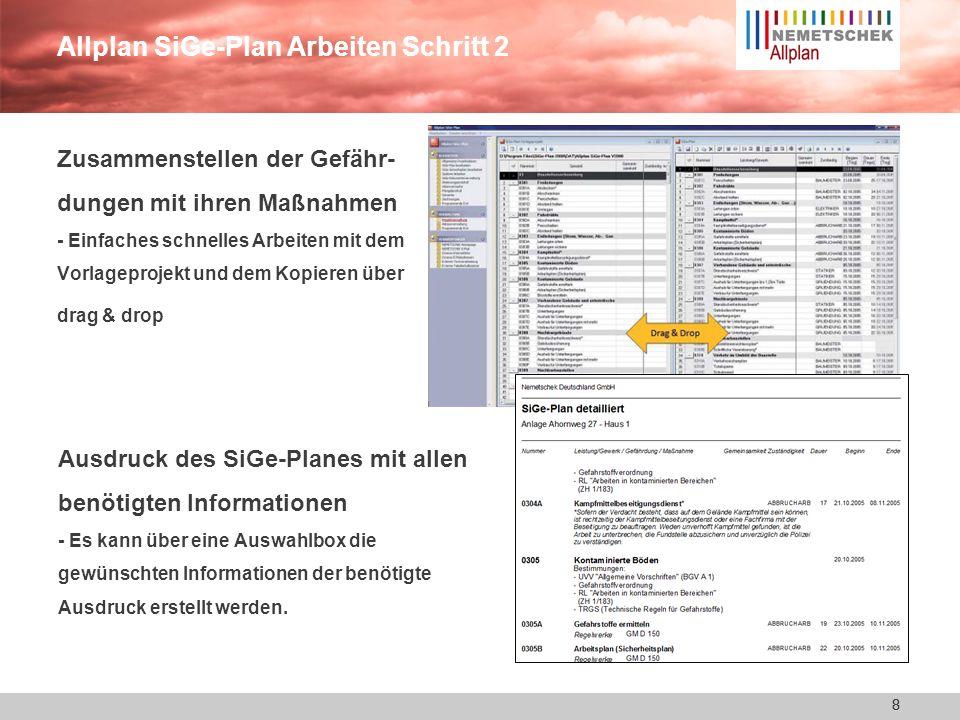Allplan SiGe-Plan Arbeiten Schritt 2