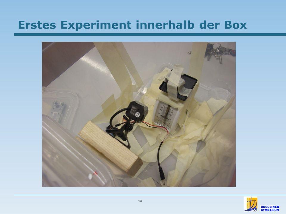 Erstes Experiment innerhalb der Box
