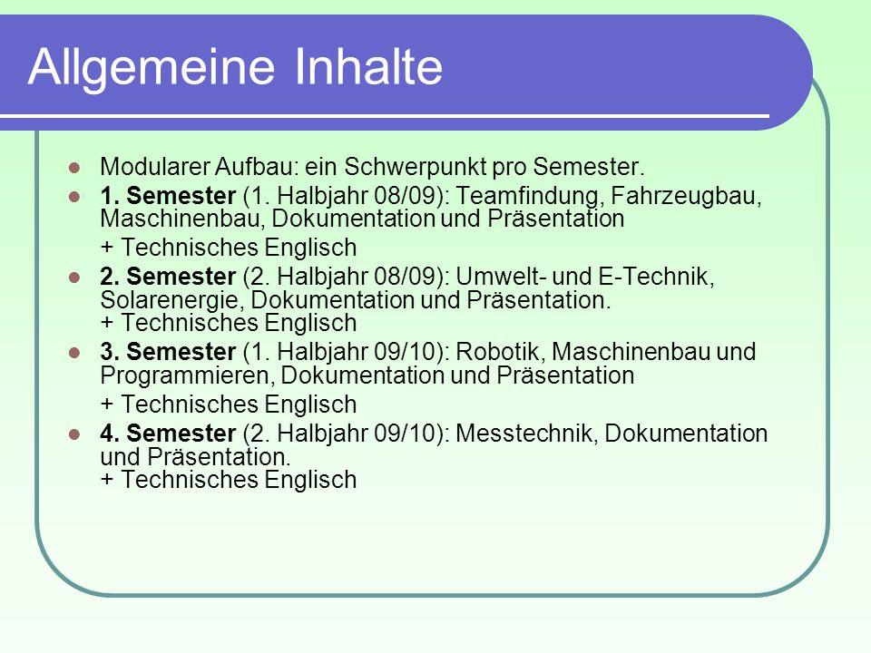 Allgemeine Inhalte Modularer Aufbau: ein Schwerpunkt pro Semester.
