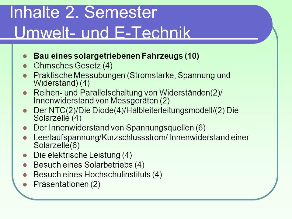 Inhalte 2. Semester Umwelt- und E-Technik