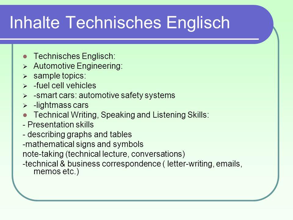 Inhalte Technisches Englisch