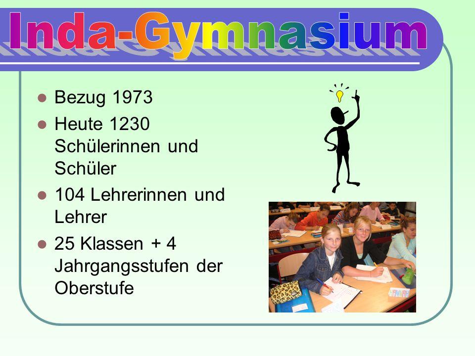Inda-Gymnasium Bezug 1973 Heute 1230 Schülerinnen und Schüler