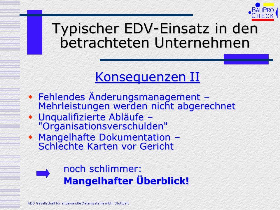 Typischer EDV-Einsatz in den betrachteten Unternehmen