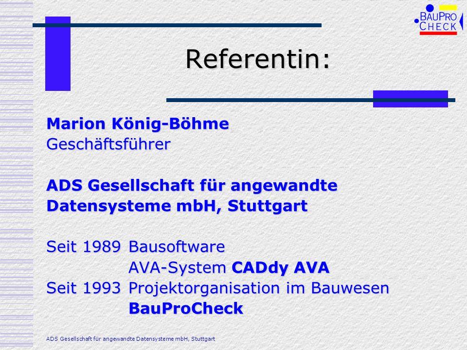 Referentin: Marion König-Böhme Geschäftsführer