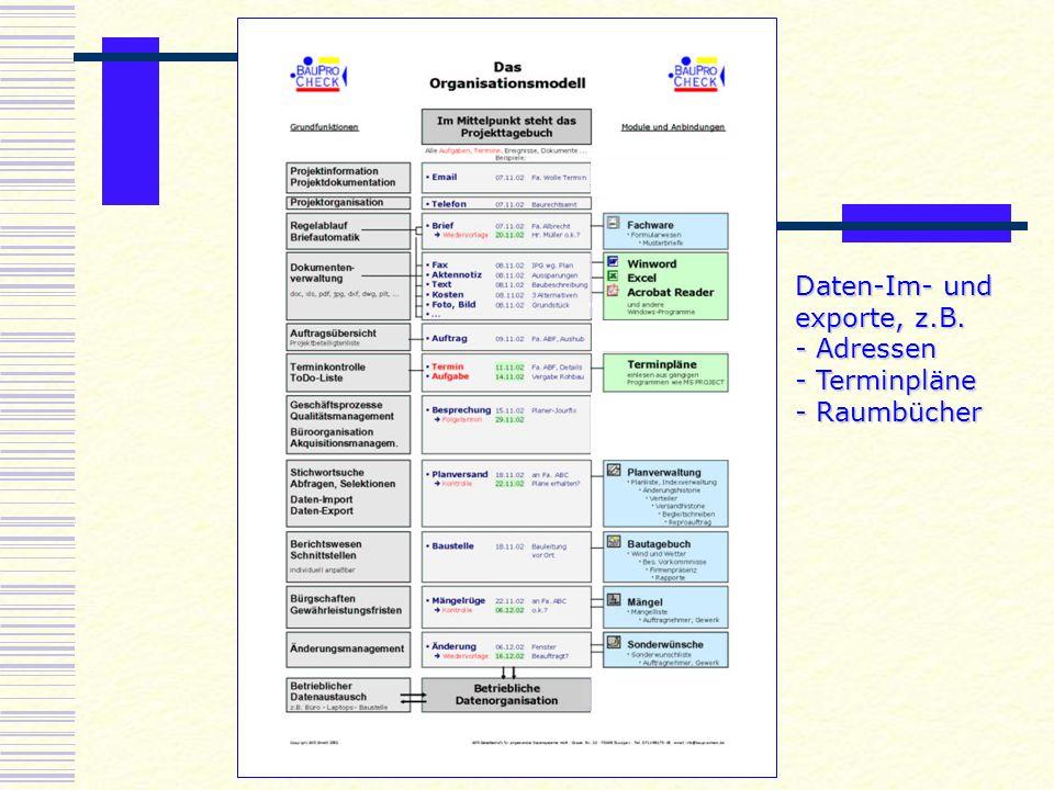 Daten-Im- und exporte, z.B.
